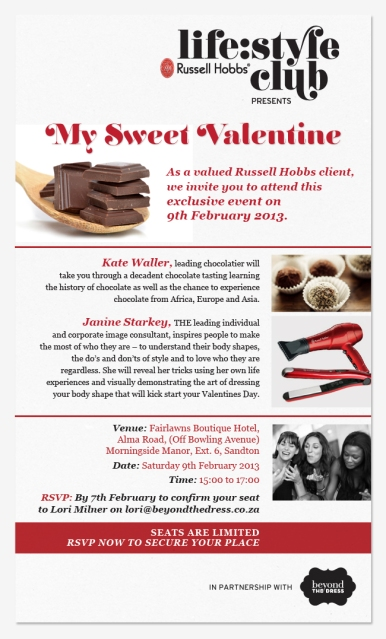 Russell Hobbs Lifestyle Club  Valentines Day invite